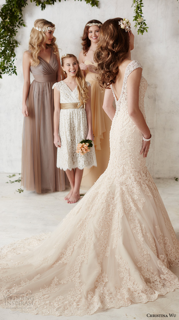 christina wu wedding dresses 2015 sleeveless v neckline lace embroidery beautiful mermaid wedding dress 15585 back view