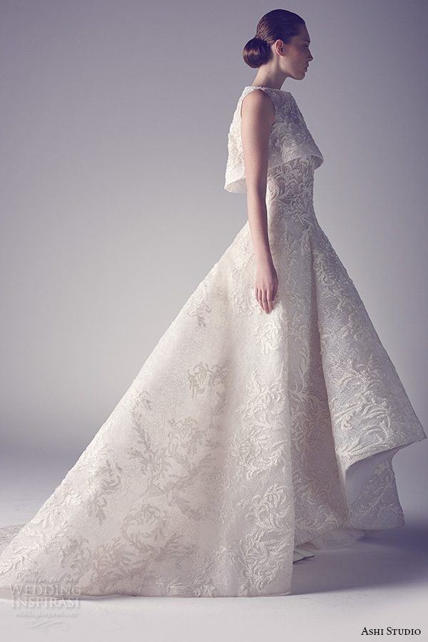 ashi studio couture 2015 sleeveless bateau neckline embroidery a line white wedding dress side view