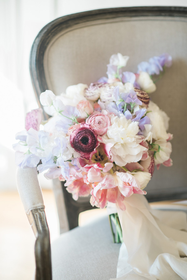 berry toned bouquet - photo by Emily Millay Photography http://ruffledblog.com/getting-ready-bridal-inspiration-and-a-wedding-brunch