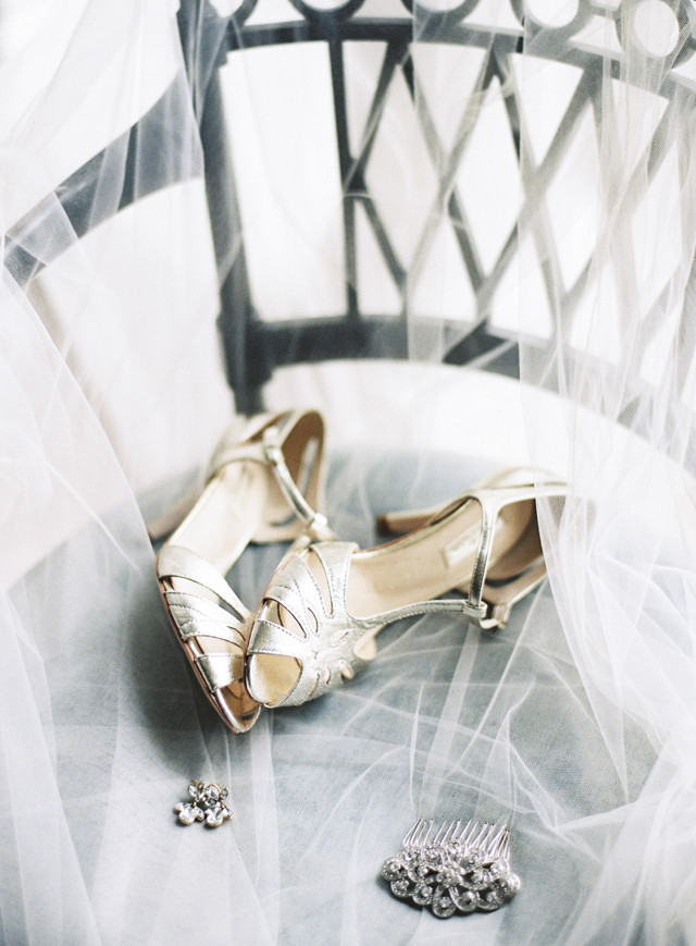 Gold wedding shoes | Sarah Hannam | see more on: http://burnettsboards.com/2015/07/classic-wedding-silver-gold/