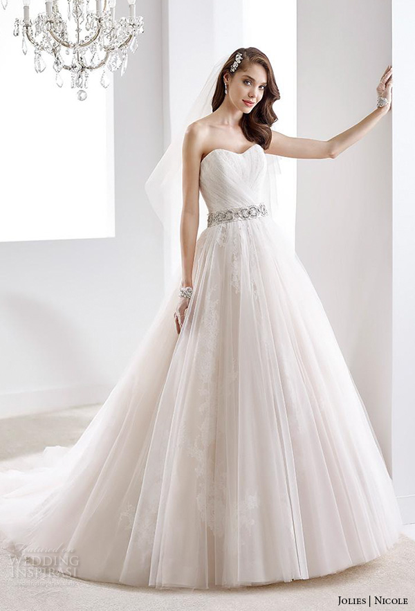 nicole jolies 2016 wedding dresses strapless sweetheart neckline pretty tulle wedding dress joab16519
