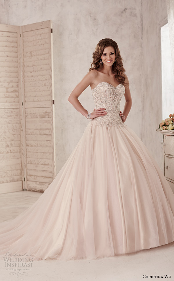 christina wu wedding dresses 2015 strapless sweetheart neckline embroidered bodice romantic champagne color ball gown dress 15584