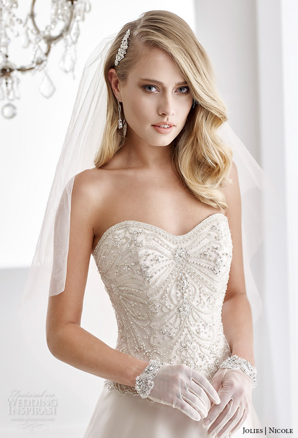 nicole jolies 2016 wedding dresses strapless sweetheart neckline beaded bodice ivory satin a line wedding dress joab16408 close up