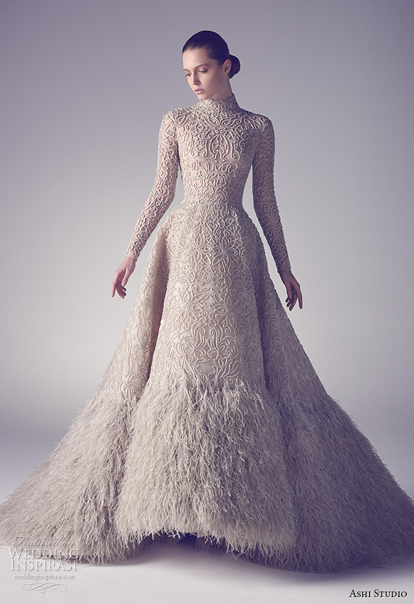ashi studio couture 2015 long sleeves high neckline floral filigree embroidery with feathers ball gown dress