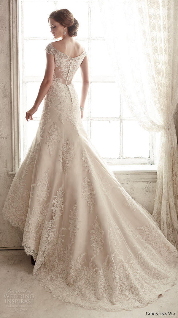 christina wu wedding dresses 2015 beaded cap sleeves v neckline elegant embroidered mermaid wedding dress 15582.back