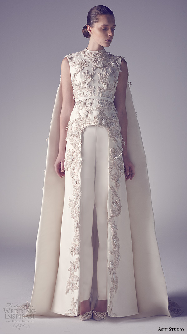 ashi studio couture 2015 jewel neckline sleeveless floral embroideries inner pants sheath dress with cape