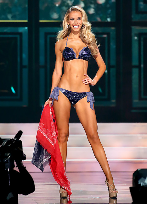 Miss Oklahoma Olivia Jordan poses onstage at the 2015 Miss USA Pageant Only On ReelzChannel at The Baton Rouge River Center on July 12, 2015 in Baton Rouge, Louisiana.