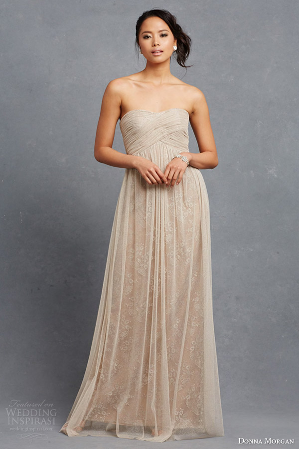 donna morgan bridesmaid dress rose strapless empire wedding dress draped bodice