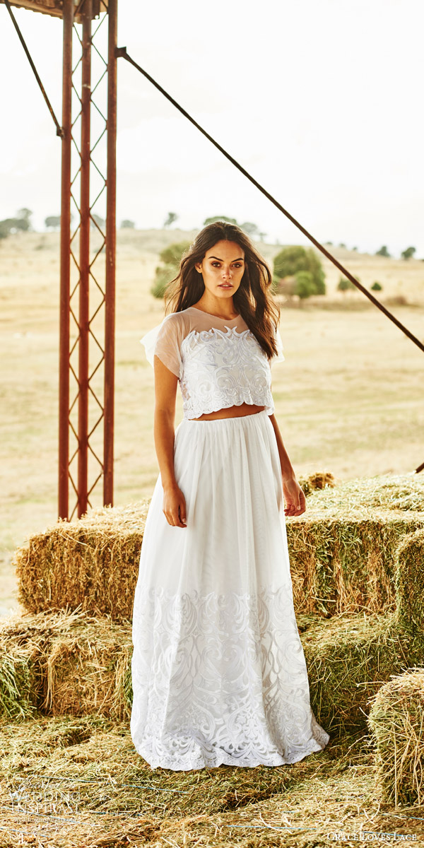 grace loves lace bridal 2015 hendrix two piece wedding dress crop top sheer short sleeves neckline elastic skirt embroidery