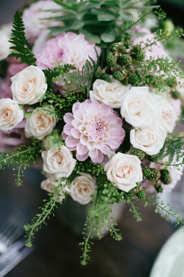 Lavender, ivory, and green floral centerpiece ⎪Paola Colleoni⎪see more on: http://burnettsboards.com/2015/07/organic-forest-fern-tablescape/