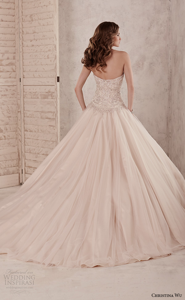 christina wu wedding dresses 2015 strapless sweetheart neckline embroidered bodice romantic champagne color ball gown dress 15584 back view