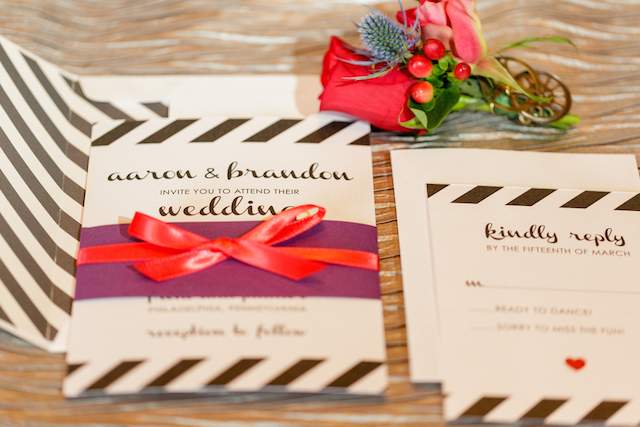 Black and white striped wedding invitations | Sarah Rachel Photography | see more on: http://burnettsboards.com/2015/07/industrial-glam-wedding-black-gold-red/