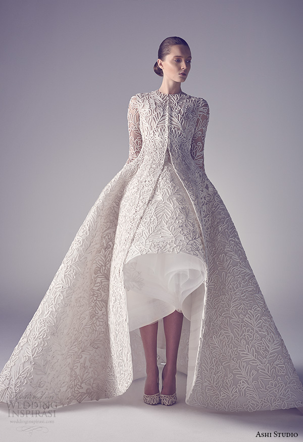 ashi studio couture 2015 jewel neckline long sleeves intricate floral embroideries high low ball gown dress