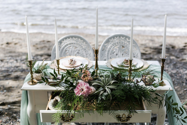 Air plant and brass candlestick tablescape | John Bello | see more on: http://burnettsboards.com/2015/07/disneys-mermaid-wedding/