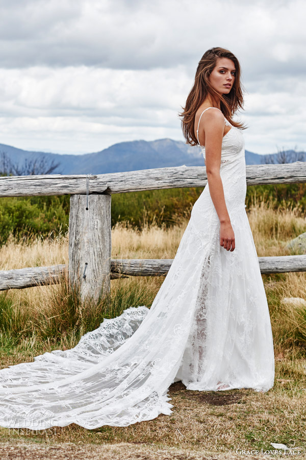grace loves lace bridal 2015 cordelia sleeveless stretch french lace wedding dress batwing train