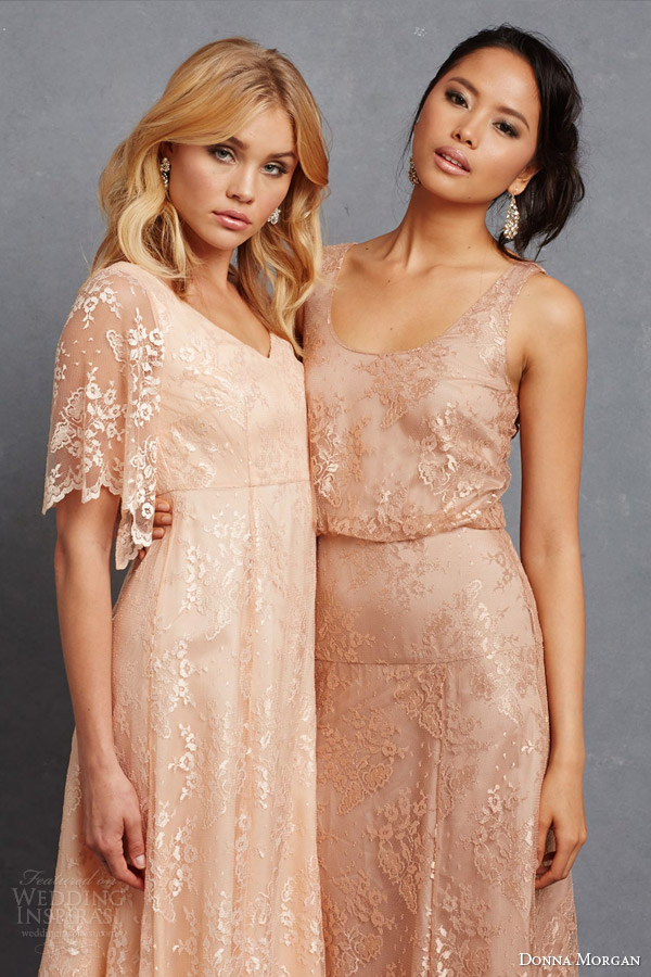 donna morgan lace bridesmaids dresses madeline apricot flutter sleev gown natalya sleeveless blouson dress