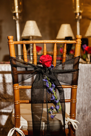 Black and red chair decor | Sarah Rachel Photography | see more on: http://burnettsboards.com/2015/07/industrial-glam-wedding-black-gold-red/
