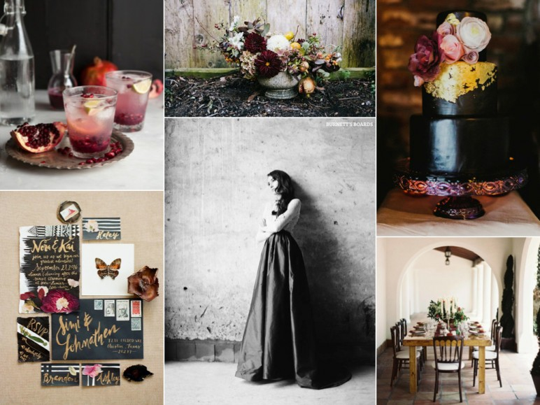 Edgy elegant wedding inspiration board in black and pomegranate