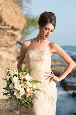 Gold wedding dress and gold rose bridal bouquet ⎪Mikkel Paige Photography ⎪ see more on: http://burnettsboards.com/2015/07/lava-rock-bridals-hawaii/