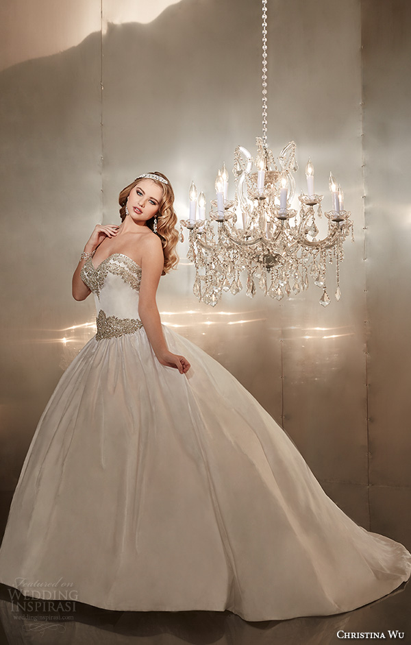 christina wu wedding dresses 2015 strapless sweetheart neckline embroidered pretty ball gown wedding dress 15570