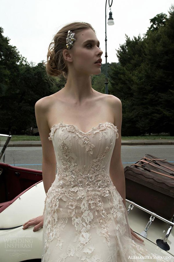 alessandra rinaudo 2016 bridal tanya strapless off white wedding dress horsehair hem close up bodice
