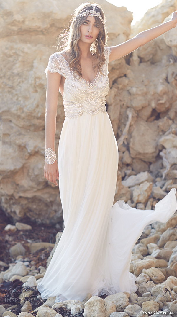 anna campbell 2015 bridal dresse cap sleeves scoop neckline beaded bodice stunning fit to flare mermaid wedding dress coco silk tulle front view