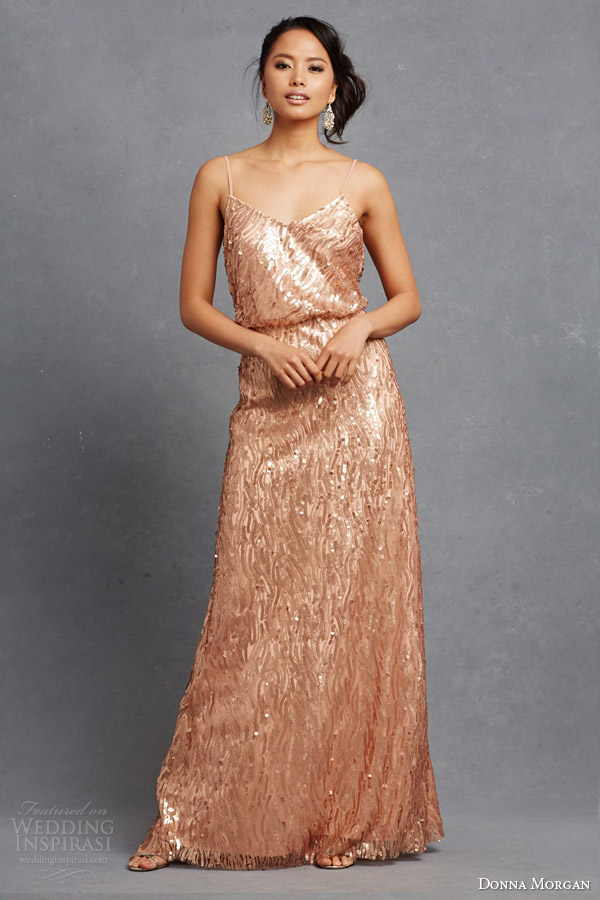 donna morgan bridesmaid courtney dress metallic sequin copper rose gold blouson sleeveless dress straps