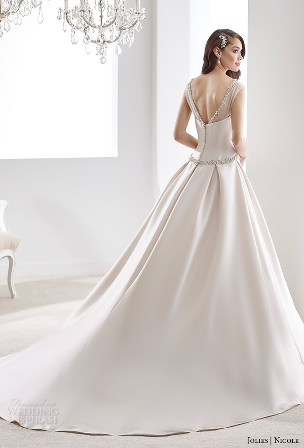 nicole jolies 2016 wedding dresses sleeveless sheer boat neckline satin a line wedding dress joab16489 back up