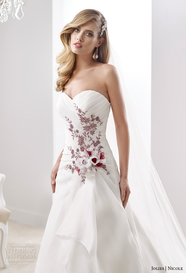 nicole jolies 2016 wedding dresses strapless sweetheart neckline red accent pretty a line wedding dress joab16467 close up