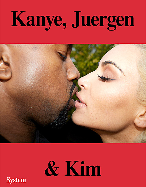 Kanye West and Kim Kardashian share a kiss on the cover of the exclusive System magazine booklet.