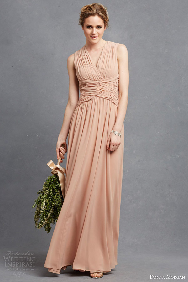 donna morgan paloma sleeveless draped bridesmaid gown