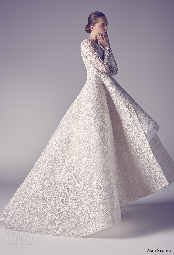 ashi studio couture 2015 jewel neckline long sleeves intricate floral embroideries high low ball gown dress back view