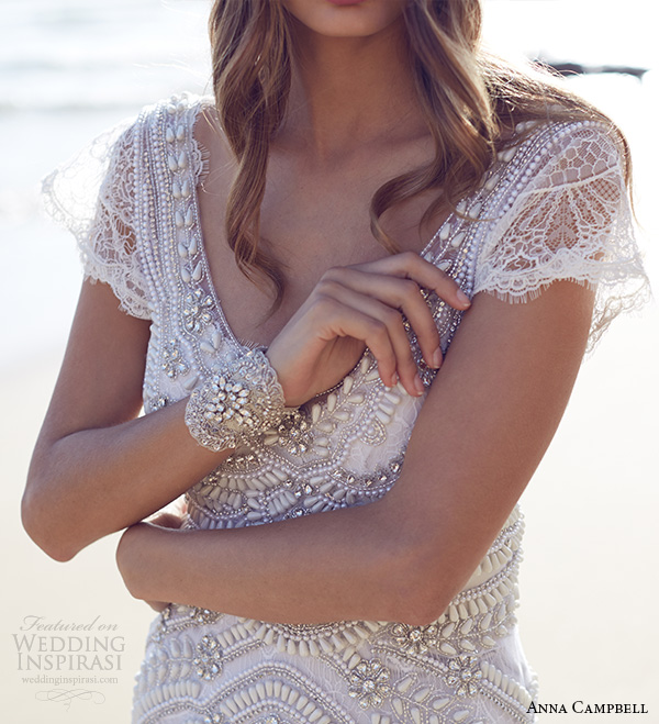 anna campbell 2015 bridal dresse cap sleeves scoop neckline beaded bodice romantic fit to flare mermaid wedding dress coco close up