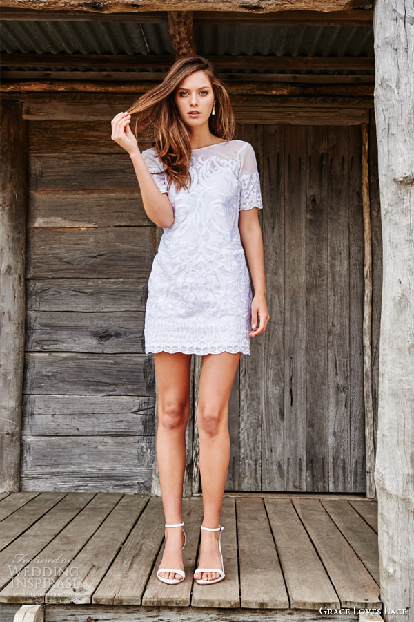 grace loves lace bridal 2015 phoenix short sleeve embroidered mini dress low v back buttons