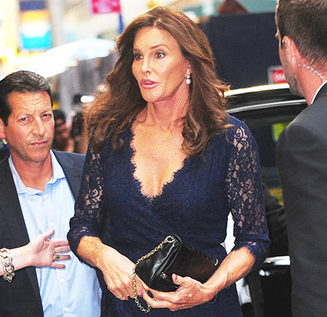 Caitlyn Jenner bares her cleavage in a lace dress in New York City on June 30.