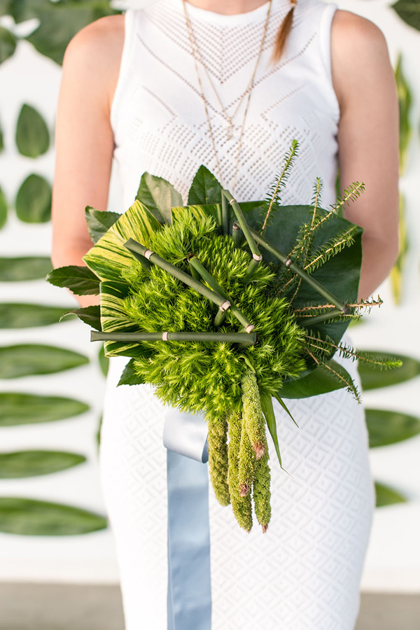 unique green bouquet - photo by Jessica Lynne Photography http://ruffledblog.com/modern-los-angeles-wedding-shoot-with-greenery