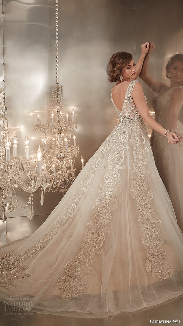 christina wu wedding dresses 2015 beaded straps jewel neckline beautiful a line wedding dress 15576 back