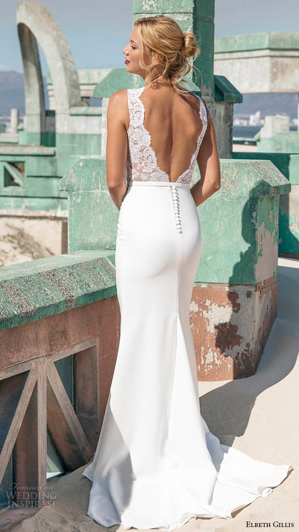 elbeth gillis 2016 bridal sleeveless lace jewel neckline embroidery lace bodice sheath wedding dress alicia back view