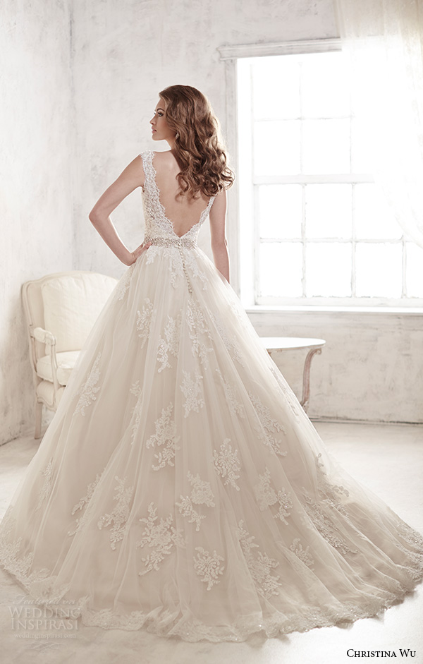 christina wu wedding dresses 2015 thick lace strap v neckline stunning a line wedding dress 15580 back view