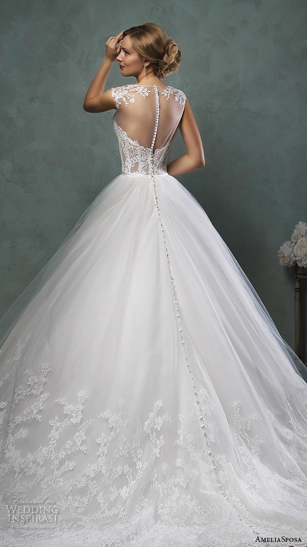 amelia sposa 2016 wedding dresses beautiful cap sheer bateau neckline scallop sweetheart tulle ball gown a line dress valery back