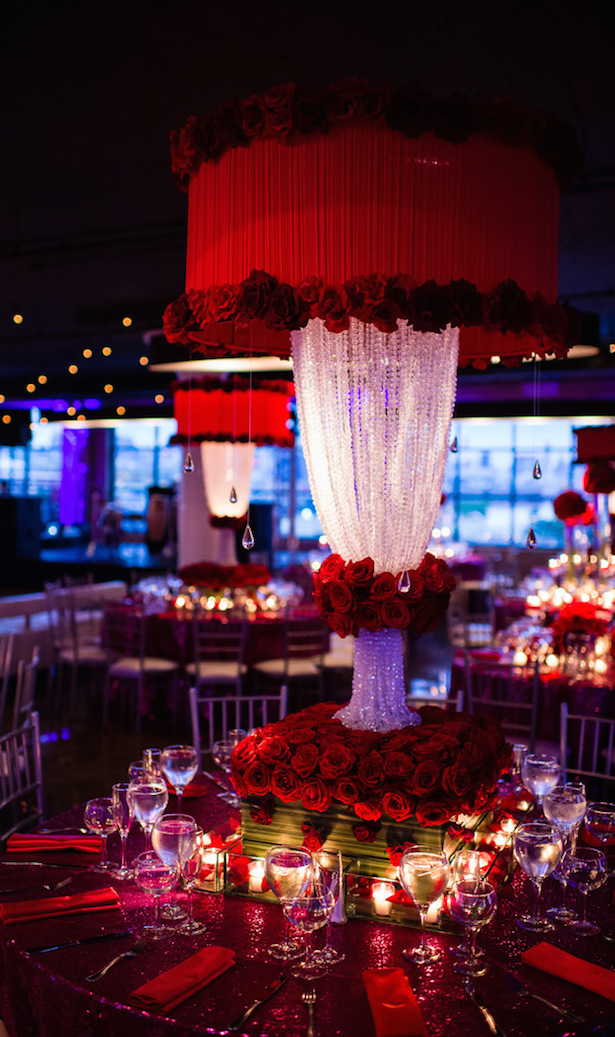 Tall Red Wedding Centerpiece