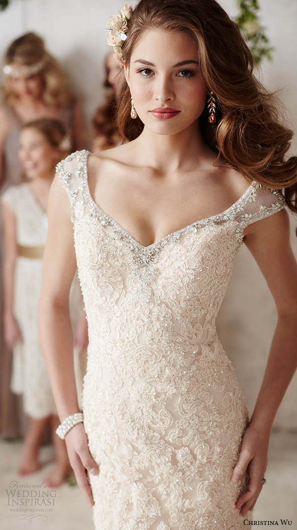 christina wu wedding dresses 2015 sleeveless v neckline lace embroidery beautiful mermaid wedding dress 15585 close up