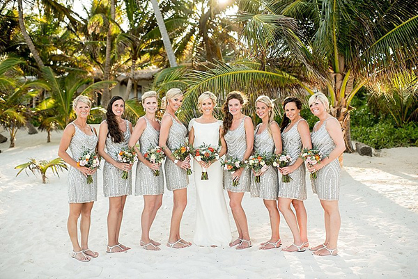 bride and bridesmaids - photo by Cynthia Rose Photography http://ruffledblog.com/relaxed-destination-wedding-in-tulum