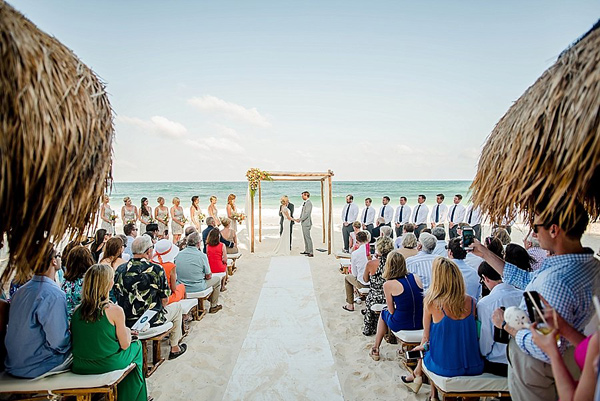 beach wedding ceremony - photo by Cynthia Rose Photography http://ruffledblog.com/relaxed-destination-wedding-in-tulum