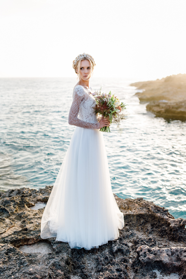 Tulle wedding dress Something Blue – Wedding Photography | see more on: http://burnettsboards.com/2015/07/destination-wedding-mallorca-start-finish/