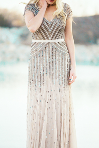Beaded and sequin dress | Callie Manion Photography | see more on: http://burnettsboards.com/2015/07/retro-glam-bridals/
