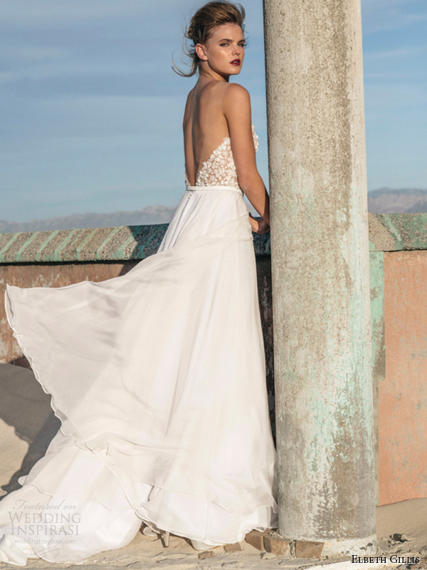 elbeth gillis 2016 bridal semi sweetheart neckline beaded bodice a line wedding dress kelly back view