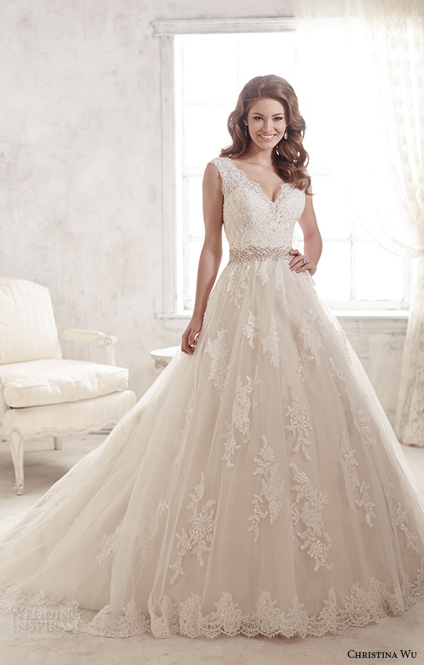 christina wu wedding dresses 2015 thick lace strap v neckline stunning a line wedding dress 15580