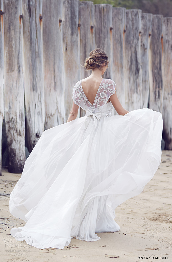 anna campbell 2015 bridal dresses beaded embroidery bodice scoop neckline cap sleeves a line wedding dress adelaide back view