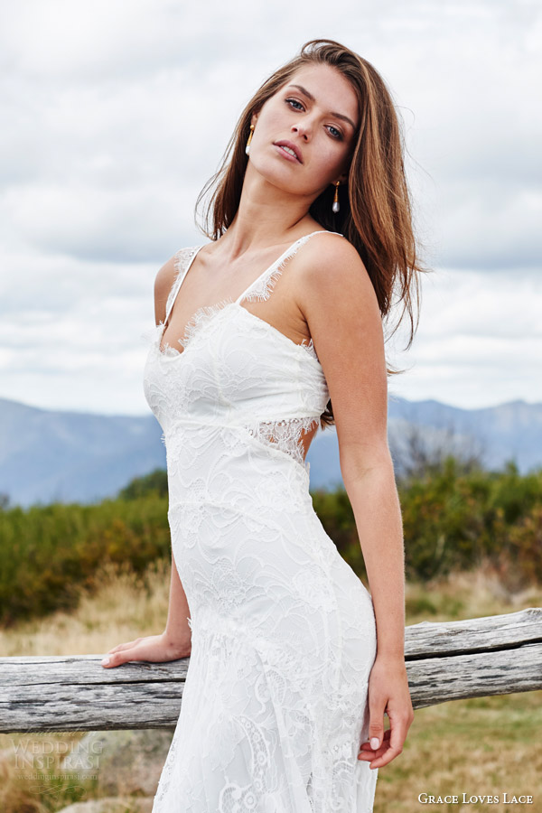 grace loves lace bridal 2015 cordelia sleeveless stretch french lace wedding dress batwing train keyhole back side view